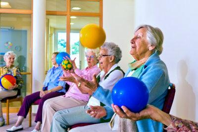 group of senior women playing ball